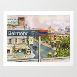 Chicago Train Platform, Brown Line Station, Dusk Art Print
