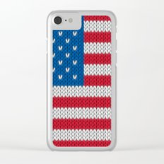 American Flag - knitted Clear iPhone Case