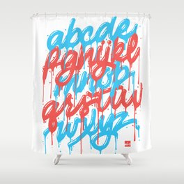 Dripset Alphabet - Blue on Red Shower Curtain