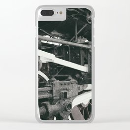 Retro steam locomotive wheels and rods. Details of mechanical parts. Clear iPhone Case