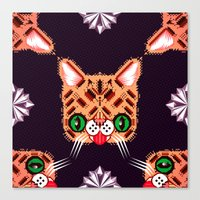 lil bub Canvas Prints featuring Lil Bub Geometric Pattern by chobopop