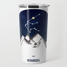 Astrology Aquarius Zodiac Horoscope Constellation Star Sign Watercolor Poster Wall Art Travel Mug