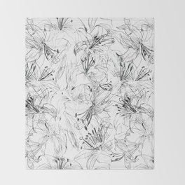 lily sketch black and white pattern Throw Blanket