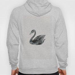 Elegant black white hand painted watercolor swan  Hoody