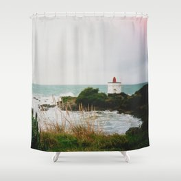 Film photo of the lighthouse at Bluff, NZ Shower Curtain