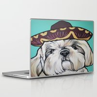 shih tzu Laptop & iPad Skins featuring Mimosa the Shih Tzu by Cheney Beshara