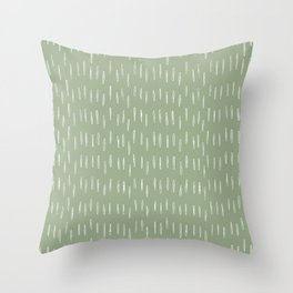 Raindrop Boho Abstract Pattern, Sage Green Throw Pillow