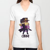 jjba V-neck T-shirts featuring ORA by Bettwitch