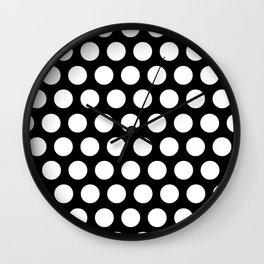Black with White Polka Dots Wall Clock