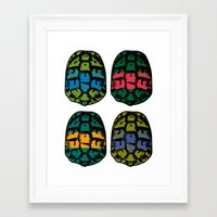 ninja turtles Framed Art Prints featuring ninja shells by tama-durden