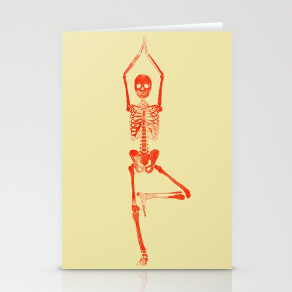 Skeleton Vriksasana Stationery Cards