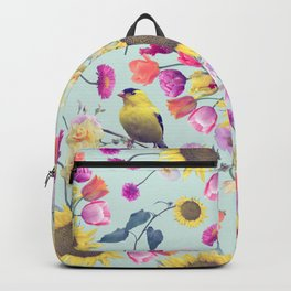 seamless  floral pattern with birds . Endless texture Backpack