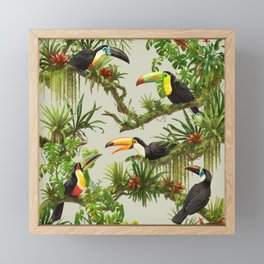 Toucans and Bromeliads (Canvas Background) Framed Mini Art Print