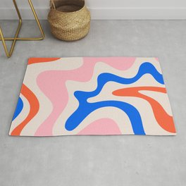 Retro Liquid Swirl Abstract Pattern Square Pink, Orange, and Royal Blue Rug