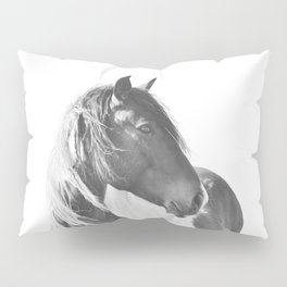 Stallion in black and white Pillow Sham