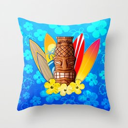 Surfboards And Tiki Mask Throw Pillow
