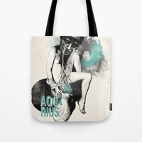 aquarius Tote Bags featuring Aquarius by Carolina Espinosa