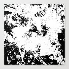 Spilt White Textured Black And White Abstract Painting Canvas Print