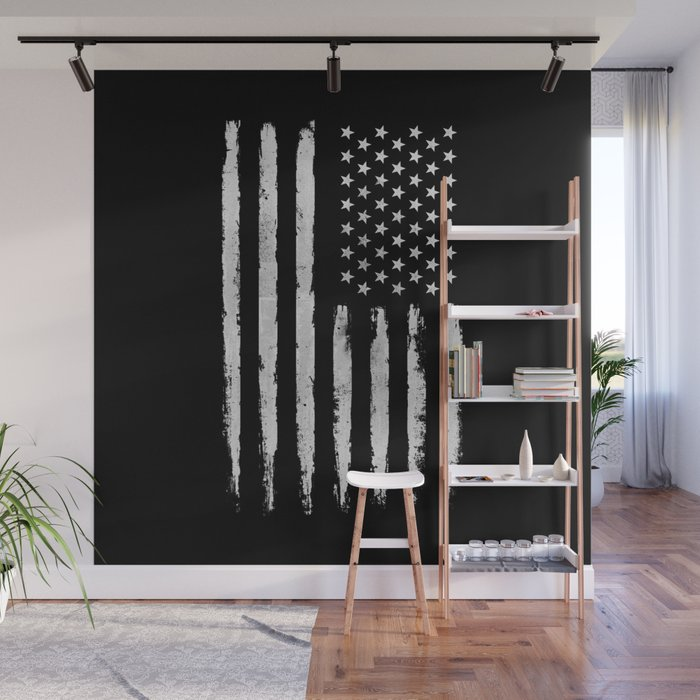 White Grunge American Flag Wall Mural By Mydream