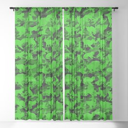 Bright Neon Green Catmouflage Sheer Curtain