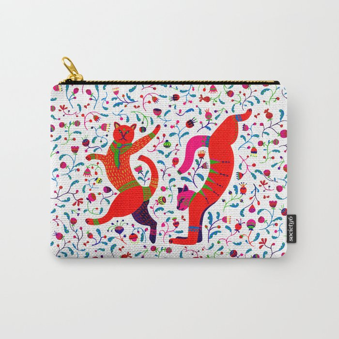 Dancing cats among spring flowers, swing & rock. Chats dansant dans les fleurs de printemps Carry-All Pouch