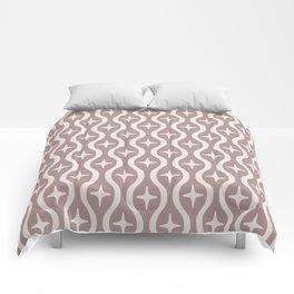 Mid century Modern Bulbous Star Pattern Beige Comforters