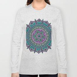 Purple and Green Mandala Art Long Sleeve T-shirt
