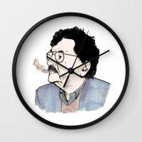 kurt rahn Wall Clocks featuring Kurt by JT Illustrates