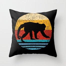 Retro Monkeys Monkey Lovers Gift Throw Pillow
