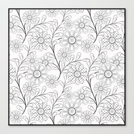 Floral pattern on a white background. Canvas Print