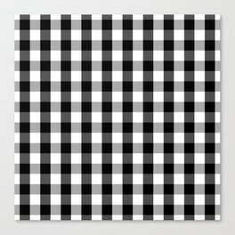 Large Black White Gingham Checked Square Pattern Canvas Print