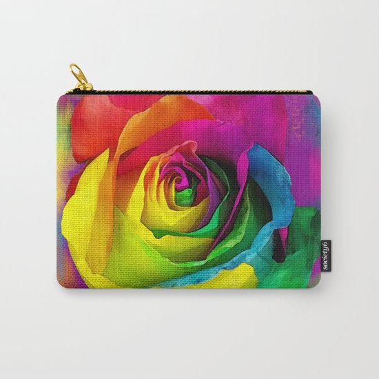 Rainbow Rose Colourful Background Carry-All Pouch