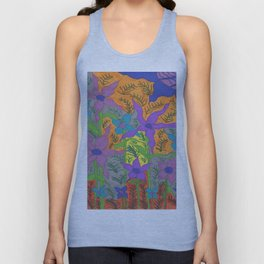 Violets in the Sky Boho Floral Unisex Tank Top
