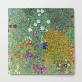 Gustav Klimt Flower Garden Floral Art Nouveau Metal Print