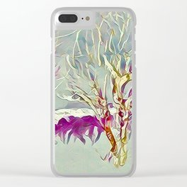 Winter Trees Purple Teal Gold Buffalo by CheyAnne Sexton Clear iPhone Case