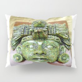 Malachite Aztec mask Pillow Sham