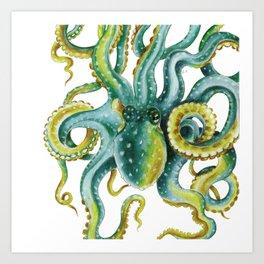 Octopus Tentacles Green Watercolor Art Art Print