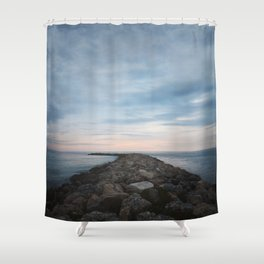 The Jetty at Sunset - Vertical Shower Curtain