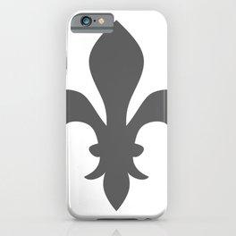 Fleur de Lis (Grey & White) iPhone Case