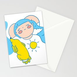 Girl with sky hair Stationery Cards