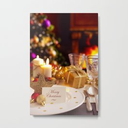 I - Christmas table with fireplace and Christmas tree in the background Metal Print