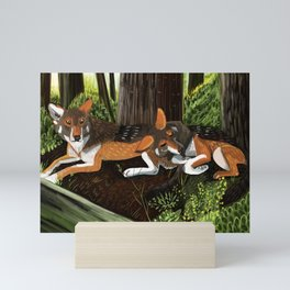 Totem Red Wolf in the forest Mini Art Print