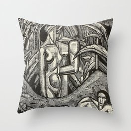 Contemplation, Engraving from Song of Solomon, 1929 by Cecil Buller Throw Pillow