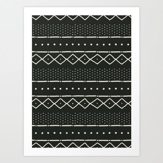 Mudcloth in bone on black Art Print