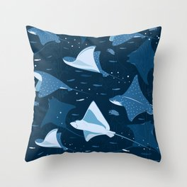 Blue stingrays pattern Throw Pillow