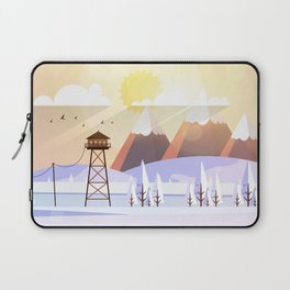 Vector Art Landscape with Fire Lookout Tower Laptop Sleeve