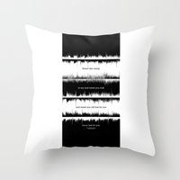dave matthews Throw Pillows featuring Lab No. 4 - Dave Mathews Band Crash into me Songs Waveform Lyrics Quotes Poster by Lab No. 4