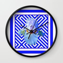 CONTEMPORARY BLUE & WHITE PATTERN IRIS PATTERN Wall Clock