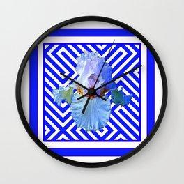 CONTEMPORARY BLUE & WHITE PATTERN IRIS PATTERN Wall Clock