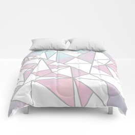 Modern white pink teal watercolor geometrical shapes Comforters